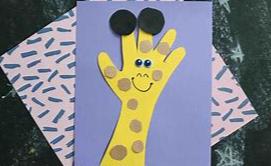 z-handpgiraffe WEEKLY THEME -Zoo - Handprint Giraffe Craft With Yellow And Brown Paint